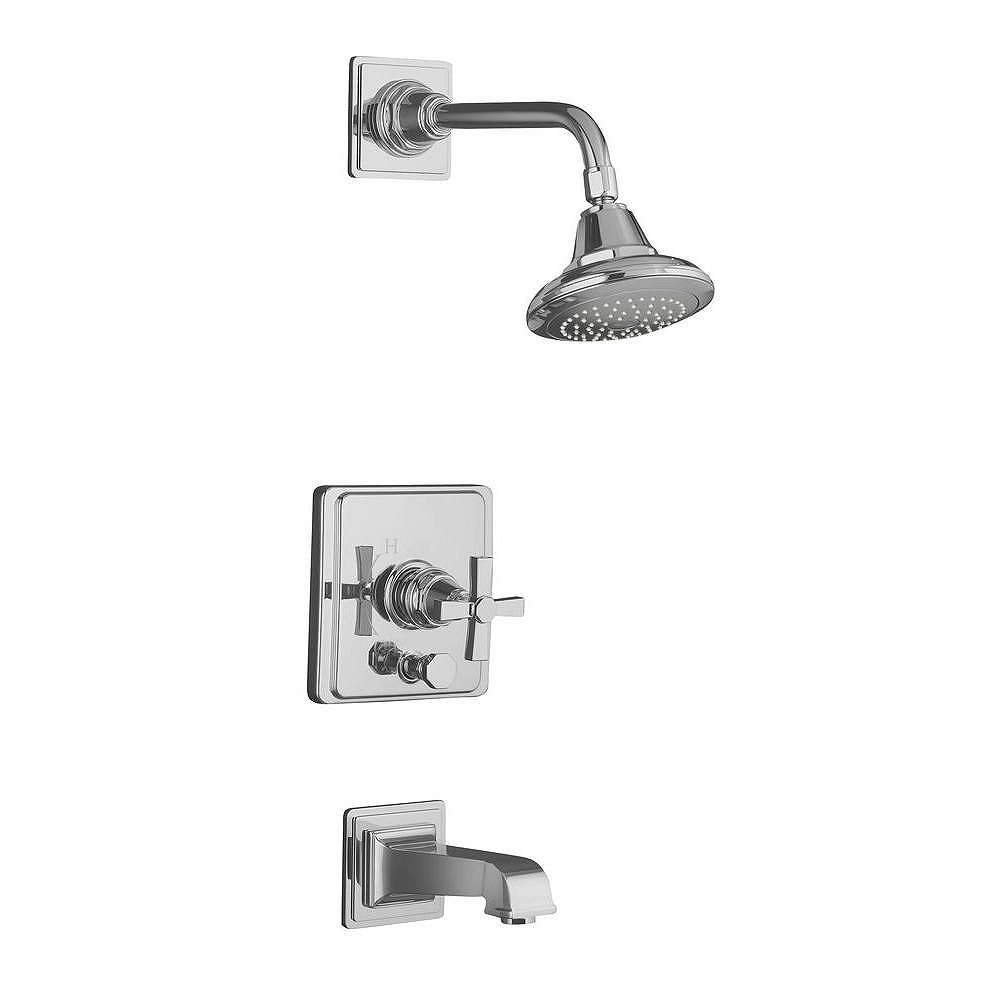 KOHLER Pinstripe(R) Pure Rite-Temp(R) pressure-balancing bath and shower faucet trim with cross handle