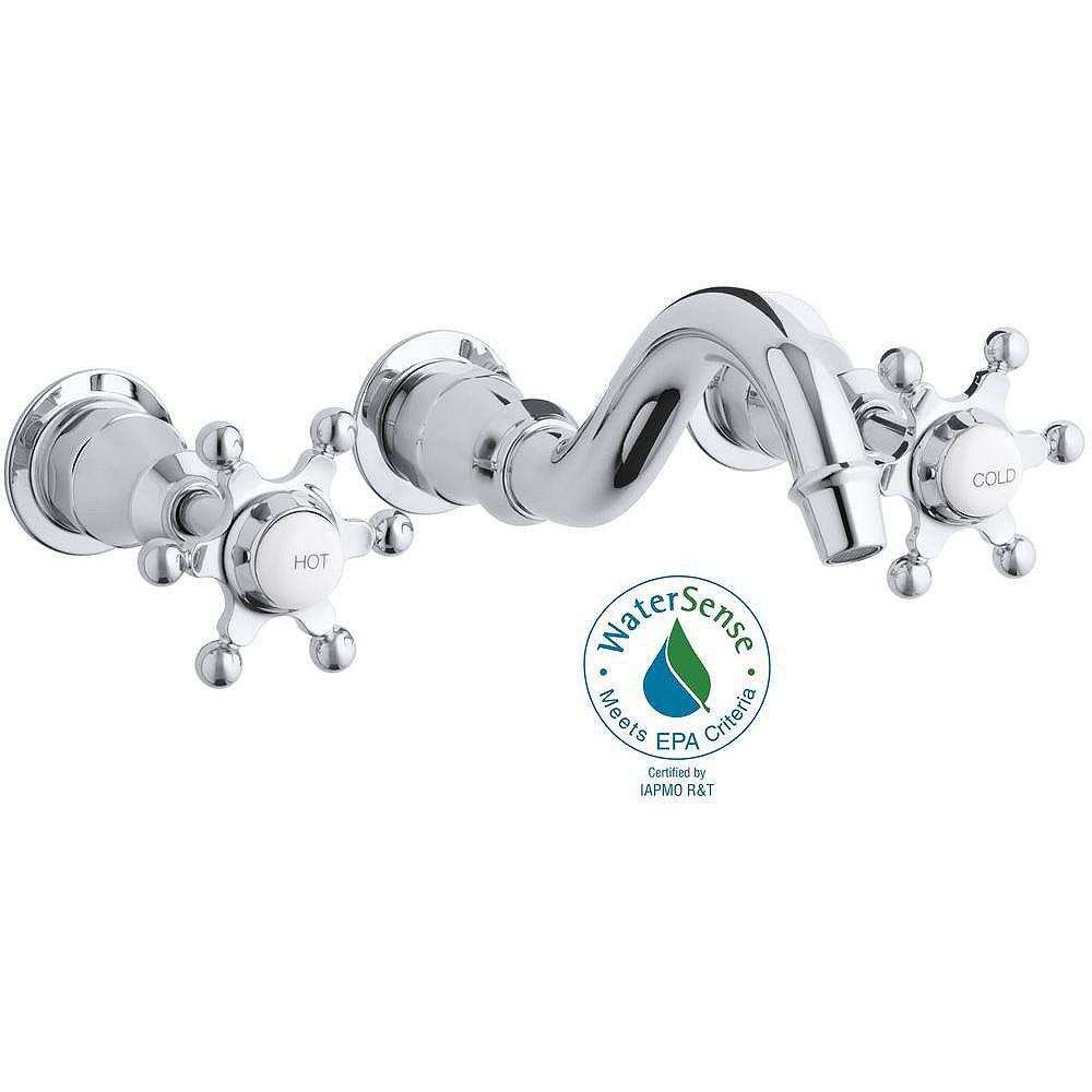 KOHLER Antique Wall-Mount Bathroom Faucet in Polished Chrome Finish