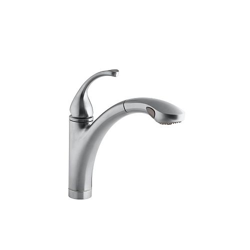Forté Single-Control Pullout Kitchen Sink Faucet With Color-Matched Sprayhead And Lever Handle In Brushed Chrome