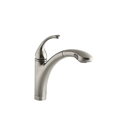 Forté Single-Control Pullout Kitchen Sink Faucet With Color-Matched Sprayhead And Lever Handle In Vibrant Brushed Nickel