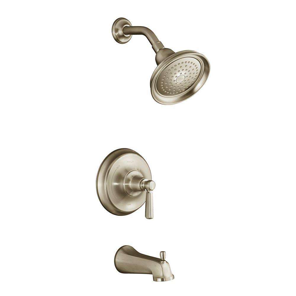 KOHLER Garniture de robinet régulateur de pression de baignoire et de douche Bancroft Rite-Temp avec bec inverseur et poignée à levier en métal