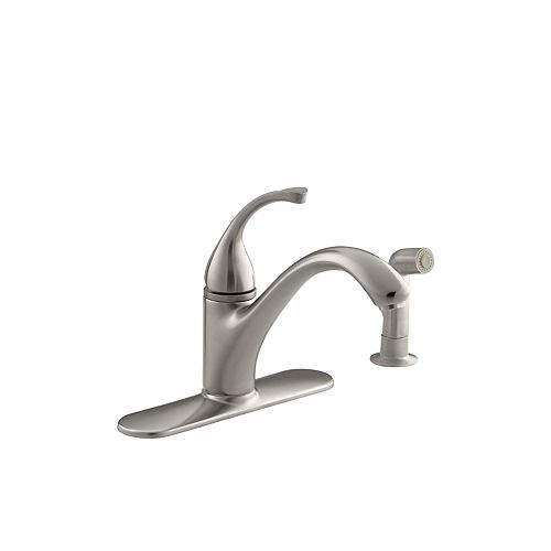 Forté Single-Control Kitchen Sink Faucet With Escutcheon, Sidespray And Lever Handle In Vibrant Stainless