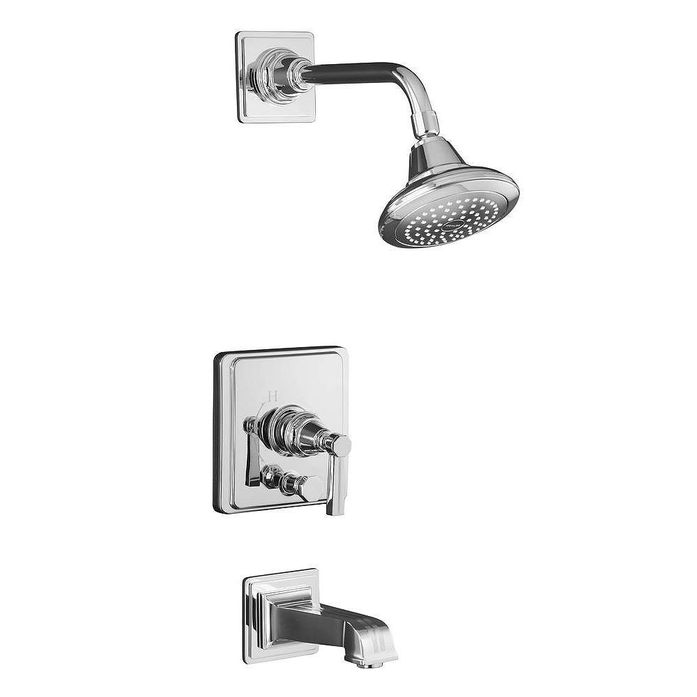 KOHLER Pinstripe(R) Rite-Temp(R) pressure-balancing bath and shower faucet trim with lever handle