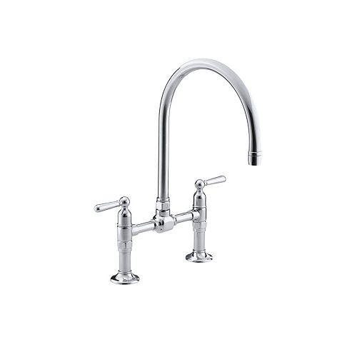 Hirise Stainless Deck Mount Bridge Kitchen Faucet In Polished Stainless