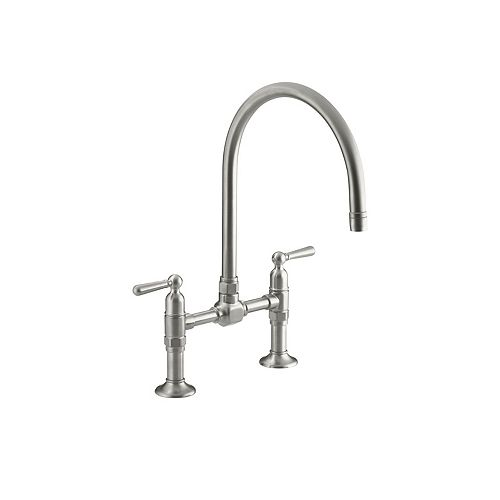 KOHLER Hirise Stainless Deck Mount Bridge Kitchen Faucet In Brushed Stainless