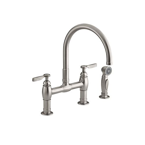 Parq Deck-Mount Kitchen Faucets With Spray In Vibrant Stainless