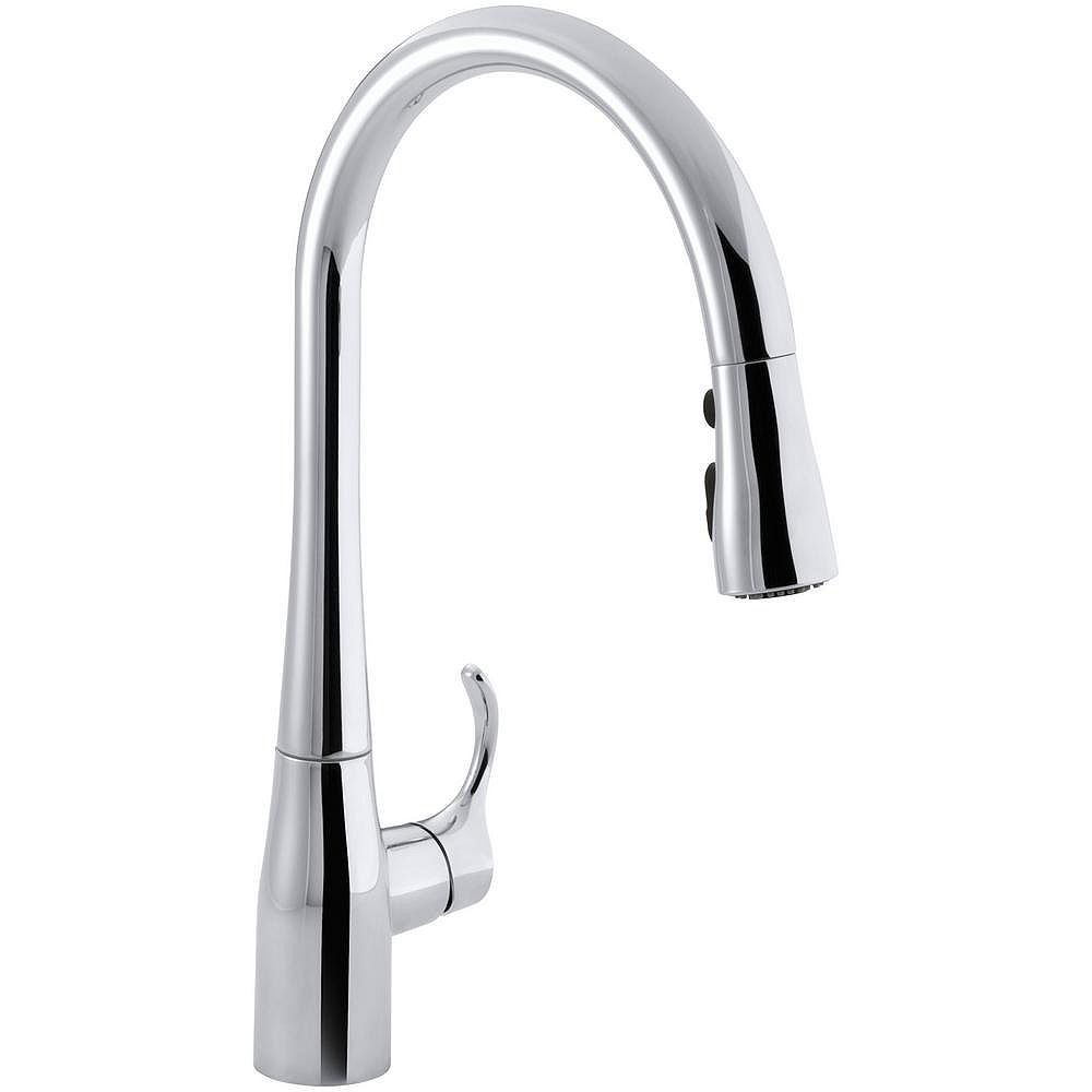 KOHLER Simplice Single-Hole Pull-Down Kitchen Faucet In Polished Chrome