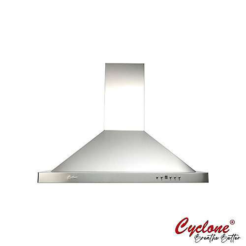 30-inch 550 CFM Pyramid Shape Wall-Mounted Range Hood in Stainless Steel