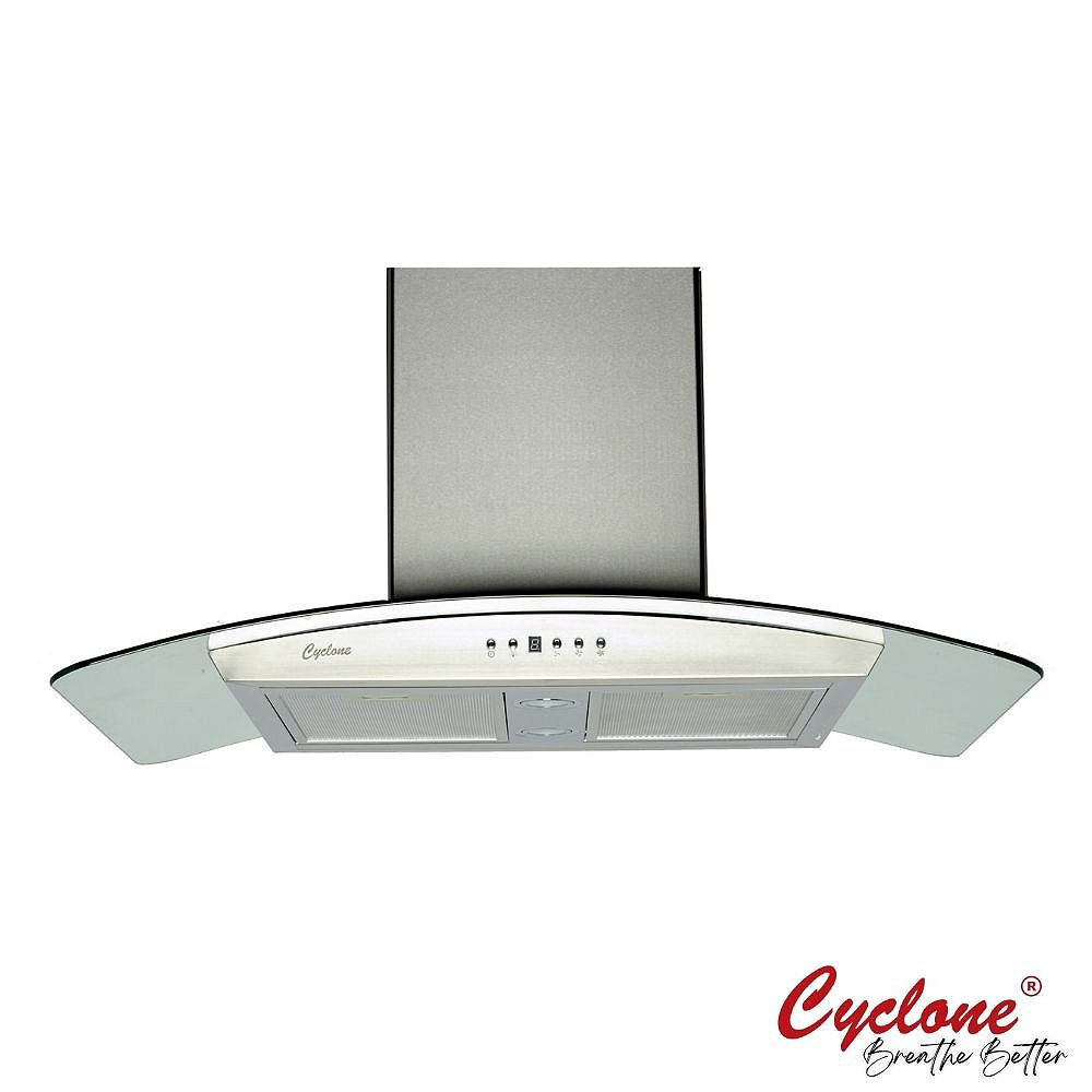 Cyclone 30 Inch Width 550 Cfm Wall Mounted Range Hood With Curved Glass Accent In Stainles The Home Depot Canada