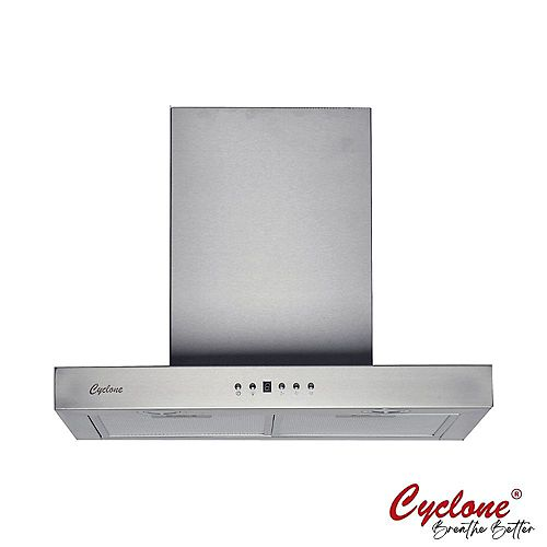 Cyclone 24-inch Wide T-shape Wall-Mounted Range Hood in Stainless Steel
