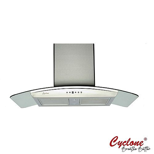 36-inch Island Range Hood with Curve Glass Accent in Stainless Steel