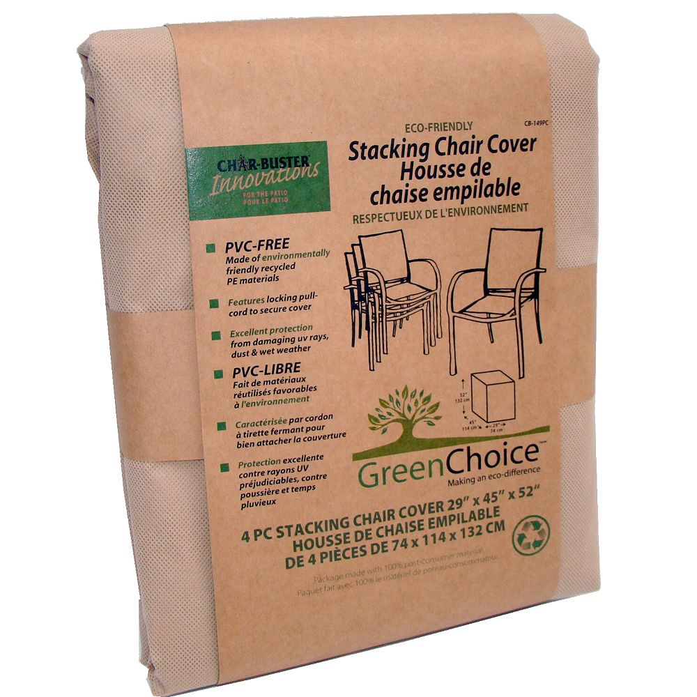 Char-Buster Eco Friendly Outdoor Stacking Chair Cover (4-pack)