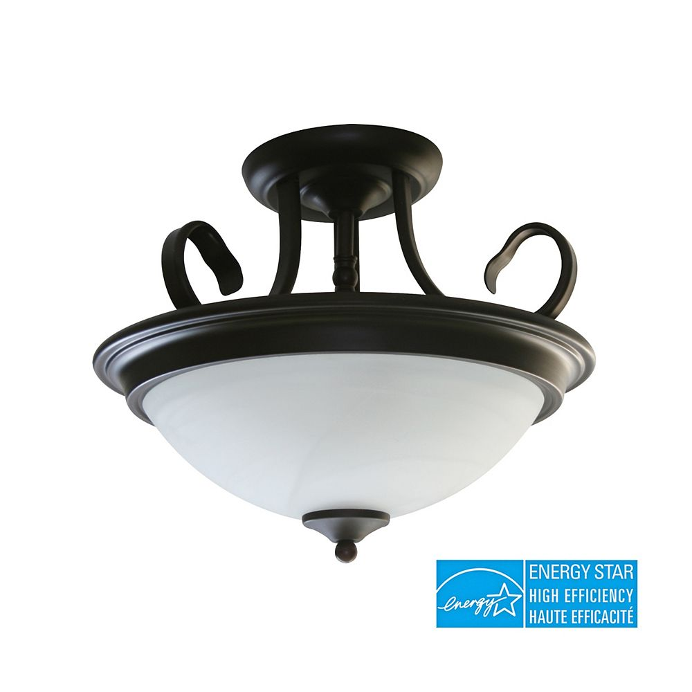 Efficient Lighting Traditional Family Semi Flush Ceiling Light, Rubbed Bronze Finish with Alabaster Glass
