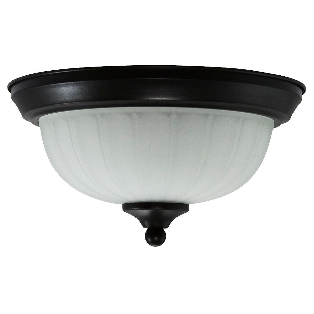 Efficient Lighting Traditional Family Flushmount, Rubbed Bronze Finish with Frosted Glass