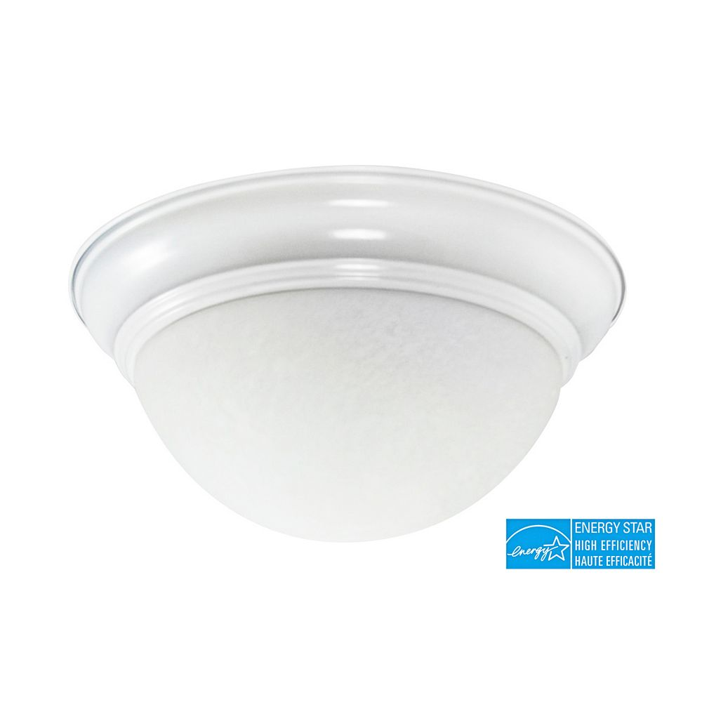 Efficient Lighting Classical Flushmount, Powder Coated White Finish with Alabaster Glass