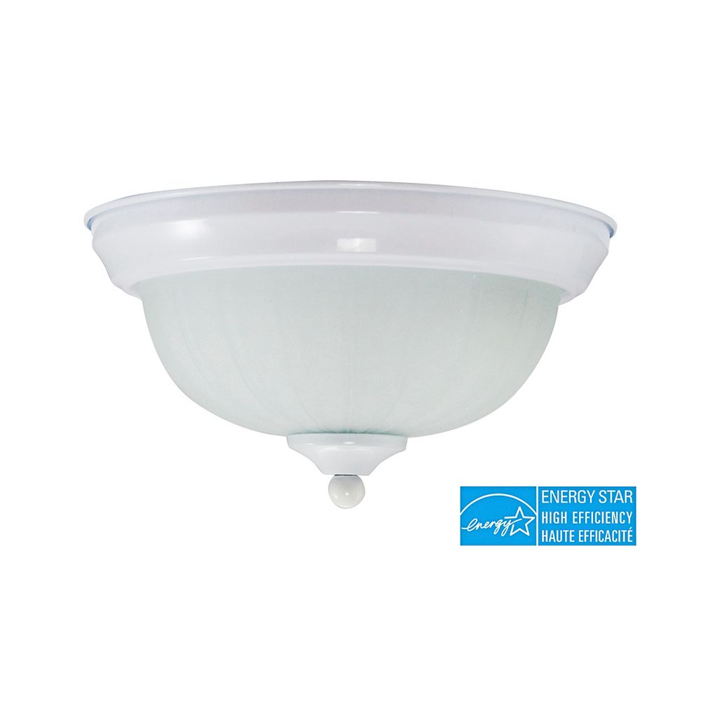 Efficient Lighting Classical Flushmount, Powder Coated White Finish with Frosted Glass