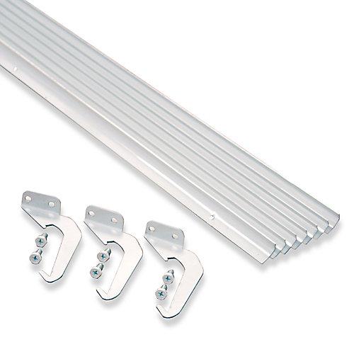 support et vis, en aluminium de couleur blanche