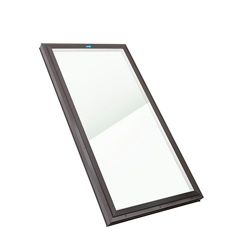 2ft x 4ft Fixed Curb Mount LoE3 Double Glazed Clear Glass Skylight, Brown Frame