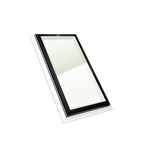 Puits de Lumière 2pi x 4pi Fixe, Solin Intégré verre transparent LoE3 trempée avec cadre brun