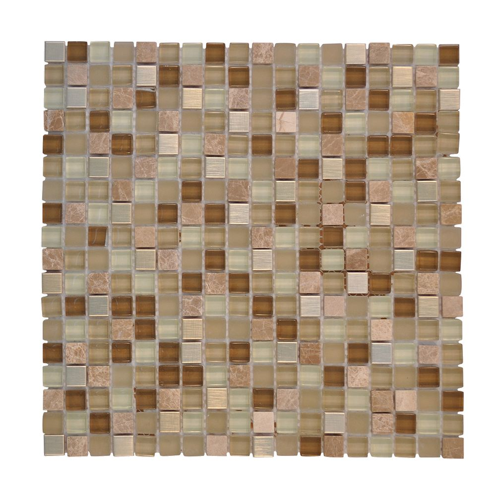 Jeffrey Court 5/8-inch x 5/8-inch Metal Glass Mosaic Wall Tile in Warm Topaz (10 sq. ft./case)