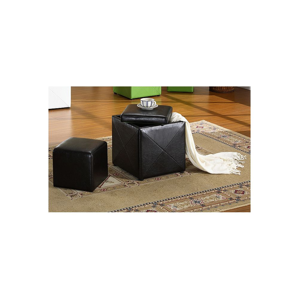Worldwide Homefurnishings Inc. Domino 2-Piece Ottoman Set - Brown