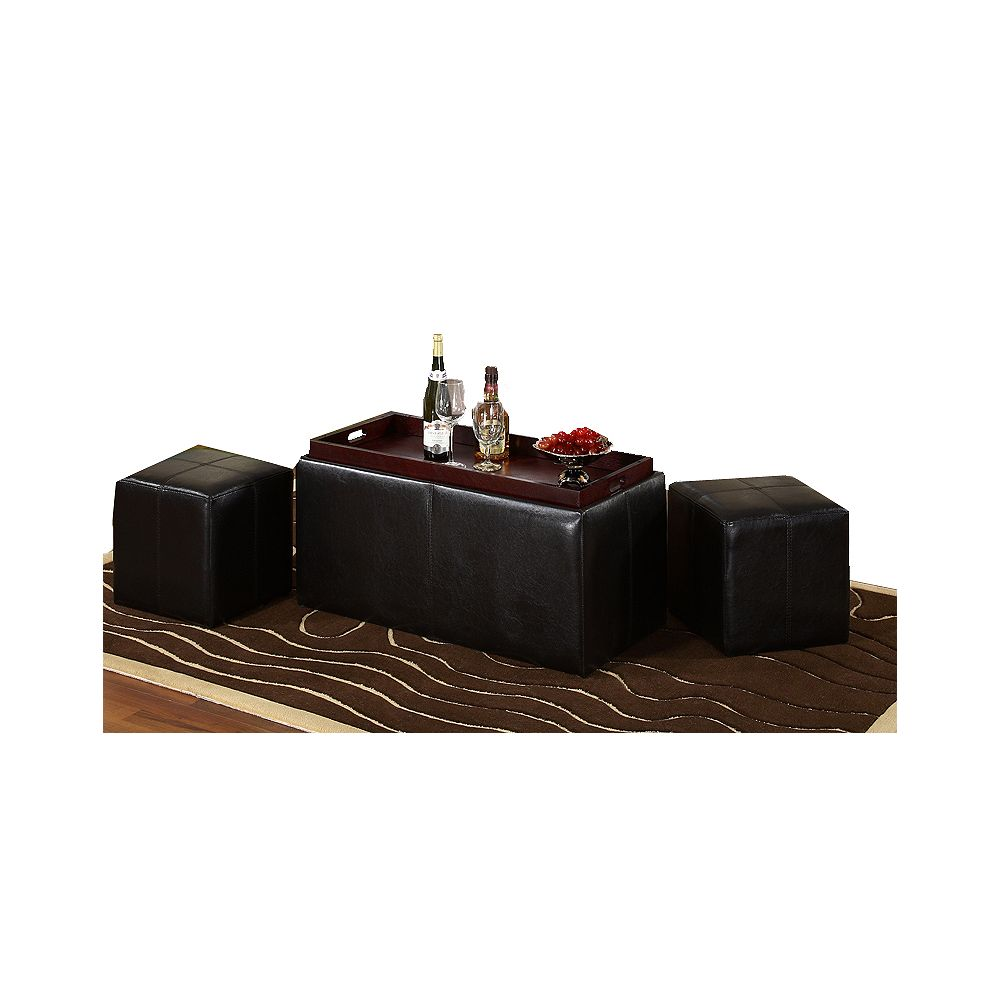 Worldwide Homefurnishings Inc. Denton 3-Piece Ottoman Set - Brown