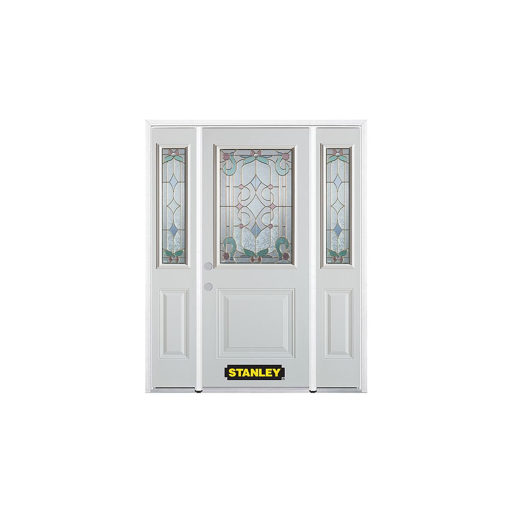 STANLEY Doors 68.5 inch x 82.375 inch Aristocrat Brass 1/2 Lite 1-Panel Prefinished White Right-Hand Inswing Steel Prehung Front Door with Sidelites and Brickmould - ENERGY STAR®