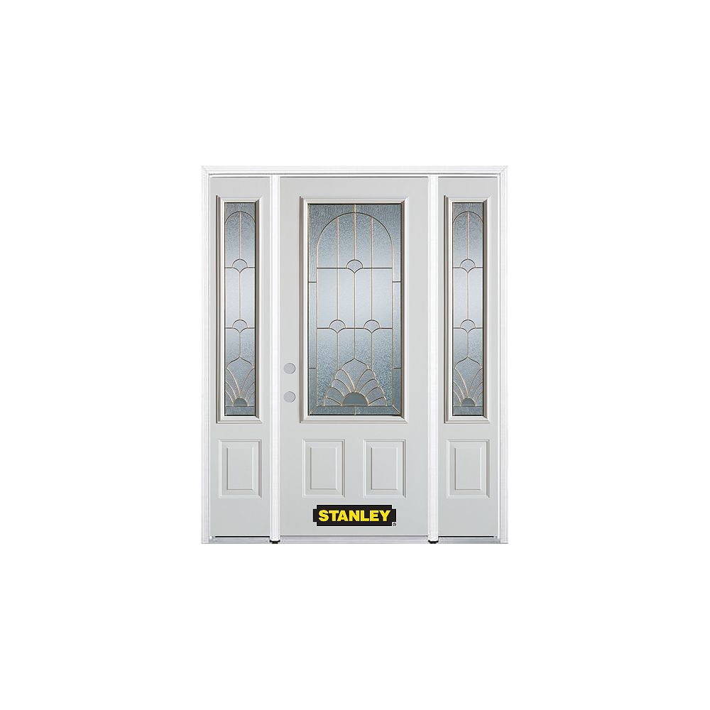 STANLEY Doors 68.5 inch x 82.375 inch Florentine Brass 3/4 Lite 2-Panel Prefinished White Right-Hand Inswing Steel Prehung Front Door with Sidelites and Brickmould