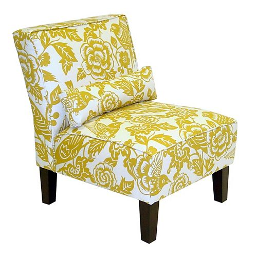 Traditional Slipper Cotton Armless Accent Chair in Yellow with Floral Pattern