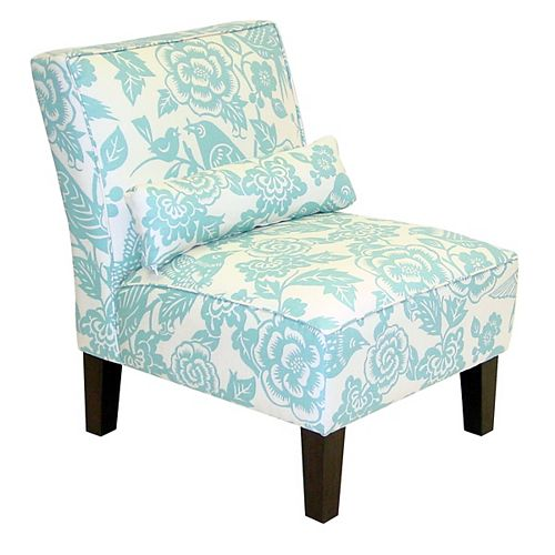 Traditional Slipper Cotton Armless Accent Chair in Blue with Floral Pattern