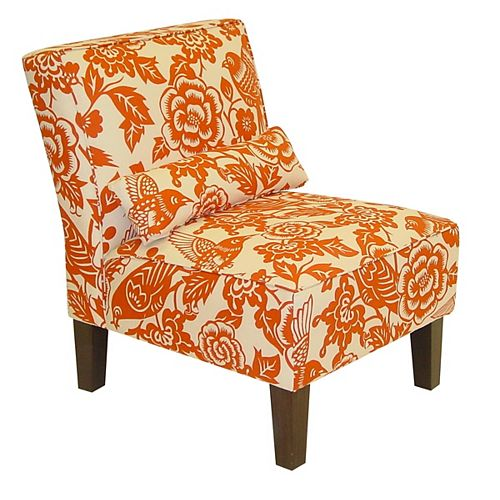 Traditional Slipper Cotton Armless Accent Chair in Orange with Floral Pattern
