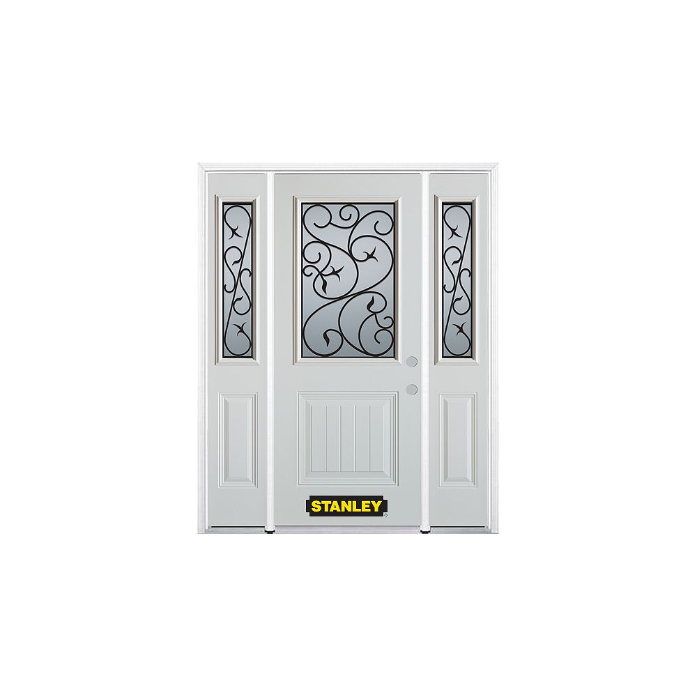 STANLEY Doors 66.5 inch x 82.375 inch Borduas 1/2 Lite 1-Panel Prefinished White Left-Hand Inswing Steel Prehung Front Door with Sidelites and Brickmould