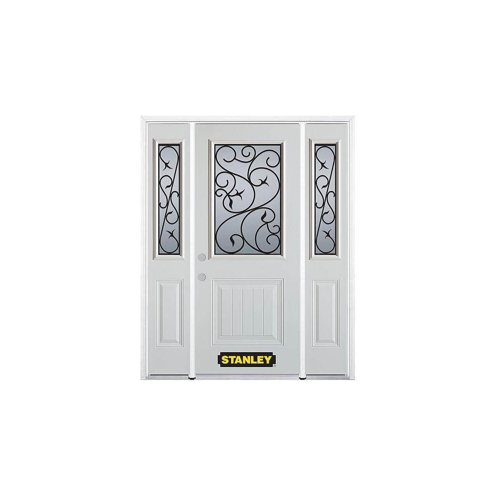 STANLEY Doors Porte dentrée en acier préfini en blanc, munie d'un panneau et dun 1/2 verre, 68 po x 82 po avec panneaux latéraux et moulure de brique