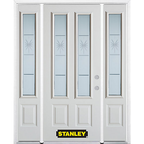 64.5 inch x 82.375 inch Beaujolais 2-Lite 2-Panel Prefinished White Left-Hand Inswing Steel Prehung Front Door with Sidelites and Brickmould