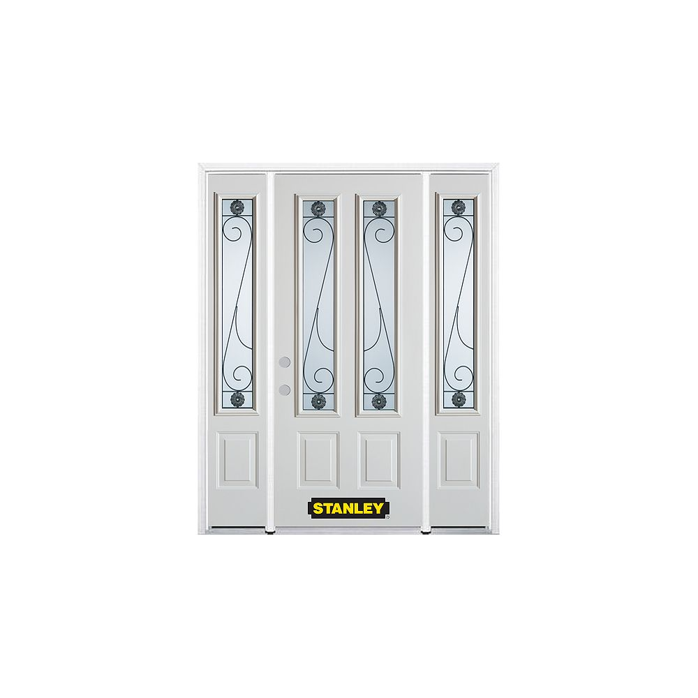 STANLEY Doors 64.5 inch x 82.375 inch Blacksmith 2-Lite 2-Panel Prefinished White Right-Hand Inswing Steel Prehung Front Door with Sidelites and Brickmould