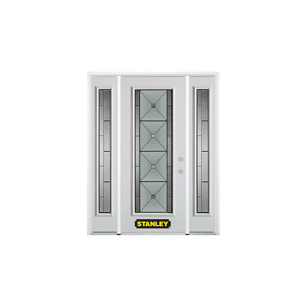 STANLEY Doors 68.5 inch x 82.375 inch Bellochio Patina Full Lite Prefinished White Left-Hand Inswing Steel Prehung Front Door with Sidelites and Brickmould