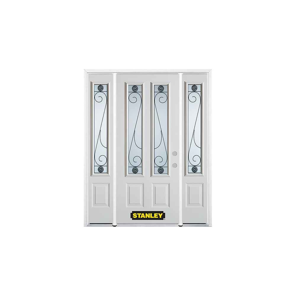 STANLEY Doors 68.5 inch x 82.375 inch Blacksmith 2-Lite 2-Panel Prefinished White Left-Hand Inswing Steel Prehung Front Door with Sidelites and Brickmould