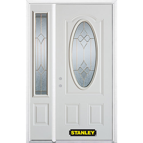 52.75 inch x 82.375 inch Beatrice Brass 3/4 Oval Lite 2-Panel Prefinished White Right-Hand Inswing Steel Prehung Front Door with Sidelite and Brickmould