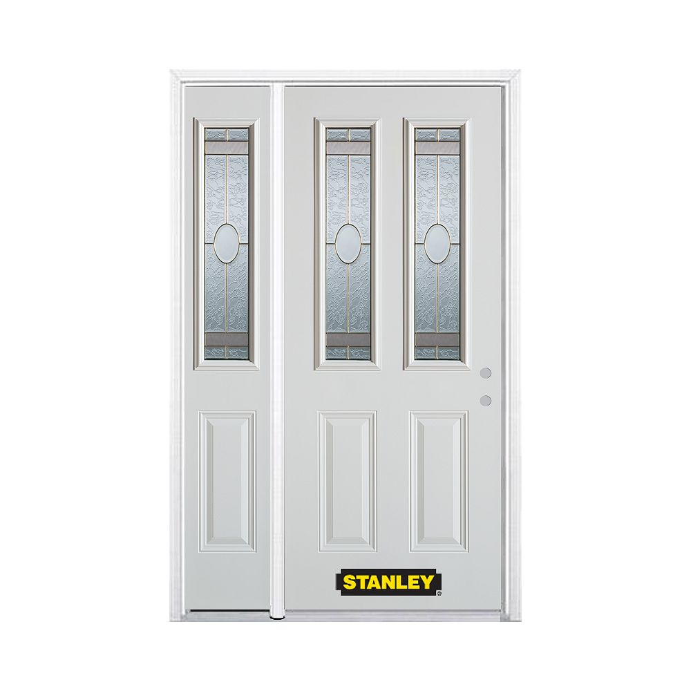 STANLEY Doors 52.75 inch x 82.375 inch Rochelle Brass 2-Lite 2-Panel Prefinished White Left-Hand Inswing Steel Prehung Front Door with Sidelite and Brickmould - ENERGY STAR®
