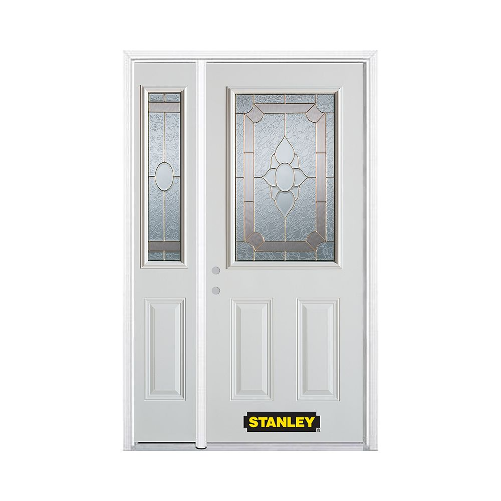 STANLEY Doors 52.75 inch x 82.375 inch Rochelle Brass 1/2 Lite 2-Panel Prefinished White Right-Hand Inswing Steel Prehung Front Door with Sidelite and Brickmould - ENERGY STAR®