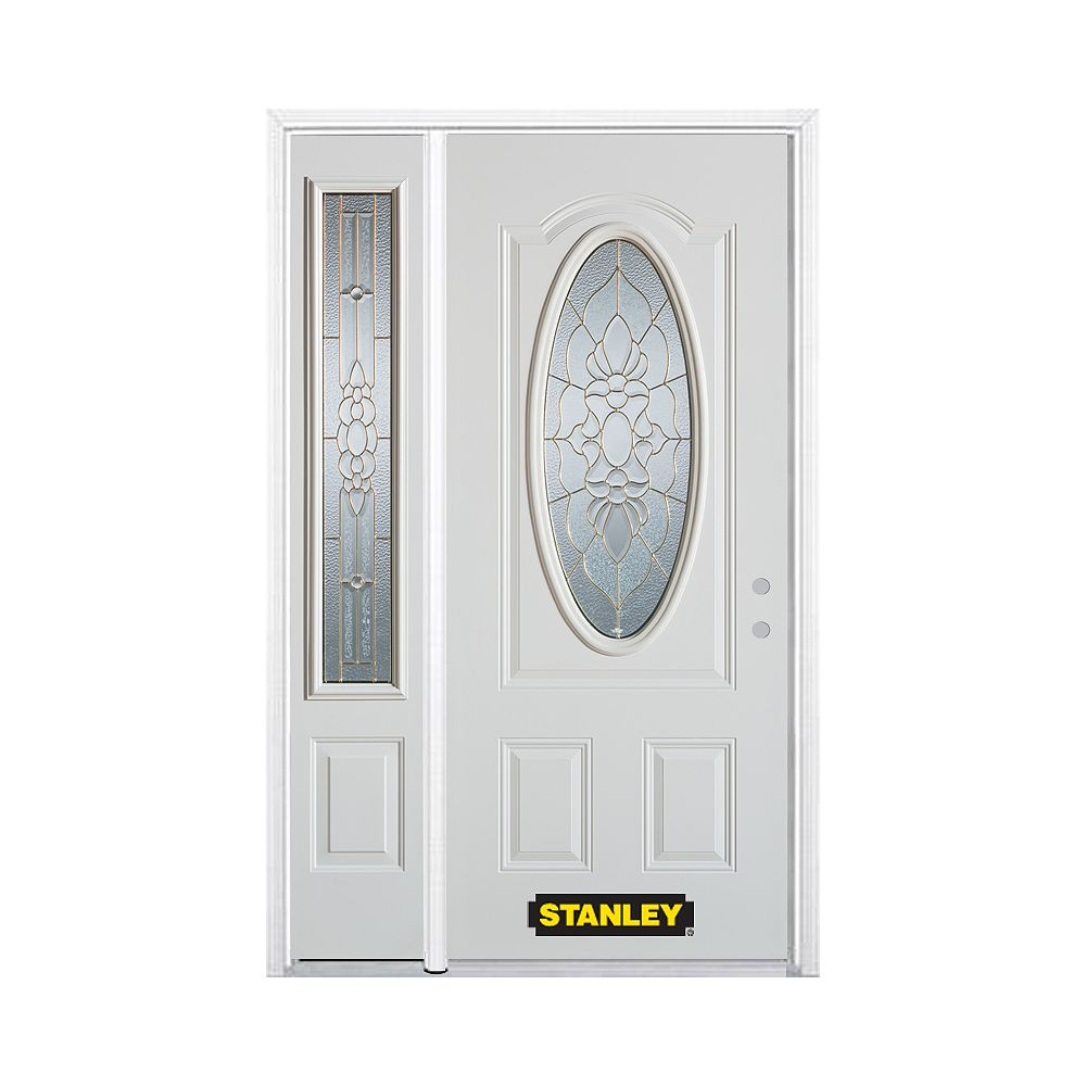 STANLEY Doors 48.25 inch x 82.375 inch Victoria Brass 3/4 Oval Lite 2-Panel Prefinished White Left-Hand Inswing Steel Prehung Front Door with Sidelite and Brickmould