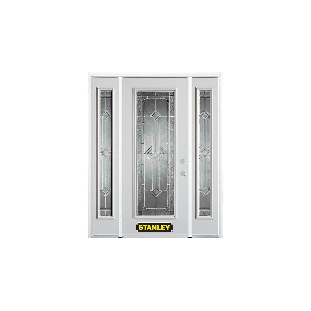 STANLEY Doors 64.5 inch x 82.375 inch Neo Deco Zinc Full Lite Prefinished White Left-Hand Inswing Steel Prehung Front Door with Sidelites and Brickmould - ENERGY STAR®