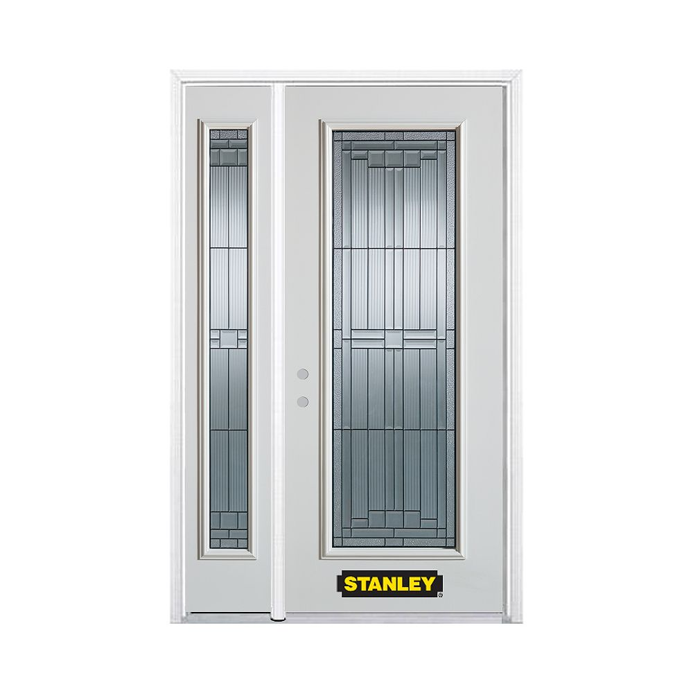 STANLEY Doors 48.25 inch x 82.375 inch Seattle Zinc Full Lite Prefinished White Right-Hand Inswing Steel Prehung Front Door with Sidelite and Brickmould