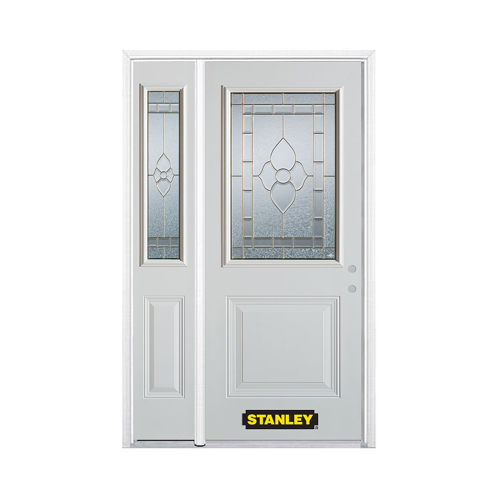 STANLEY Doors 50.25 inch x 82.375 inch Marguerite Brass 1/2 Lite 1-Panel Prefinished White Left-Hand Inswing Steel Prehung Front Door with Sidelite and Brickmould