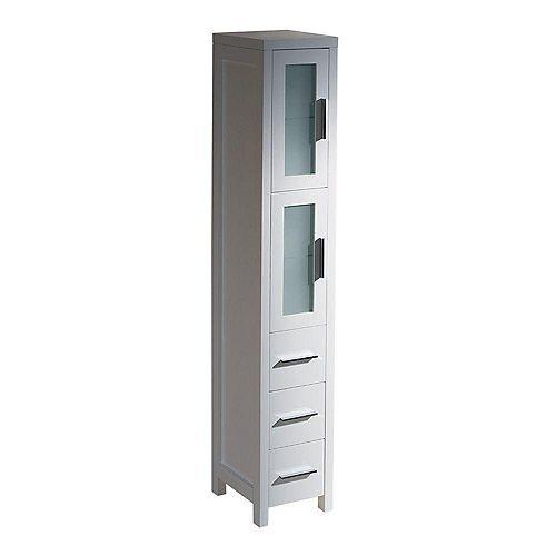 Torino 12-inch W x 68-13/100-inch H x 15-inch D Bathroom Linen Storage Tower Cabinet in White