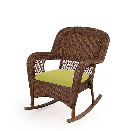 Charlottetown Patio Rocking Chair in Brown with Green Cushions