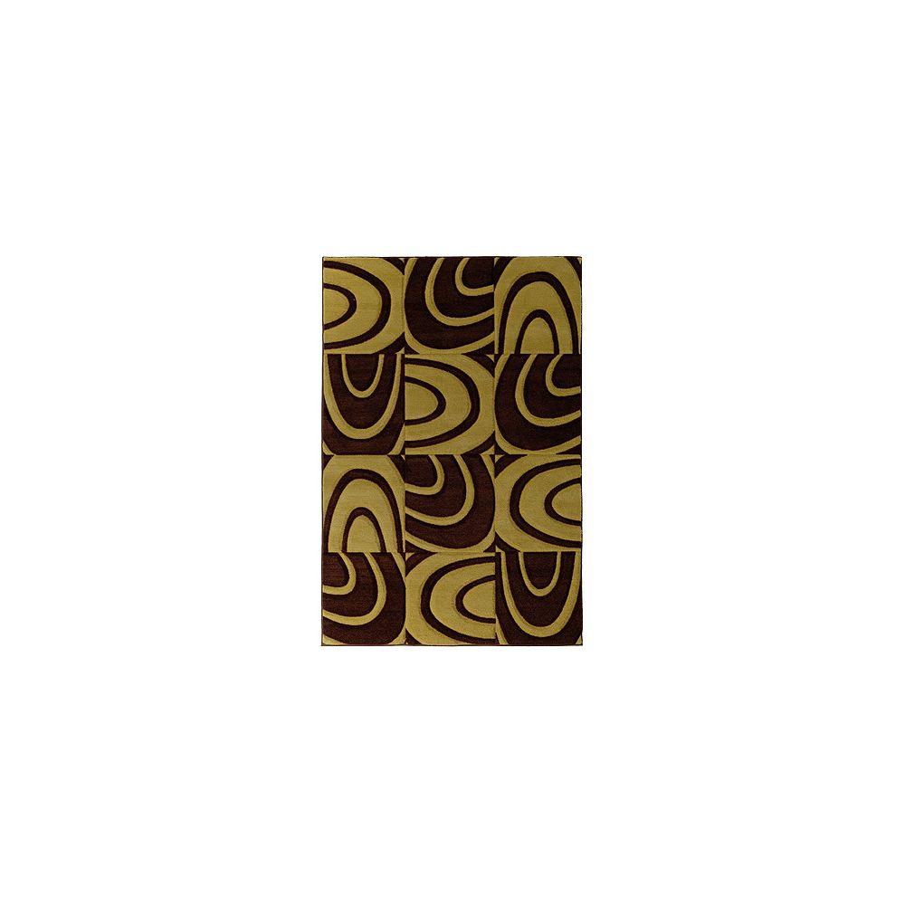 Lanart Rug Carpette d'intérieur, 6 pi x 8 pi, style contemporain, rectangulaire, brun Windows
