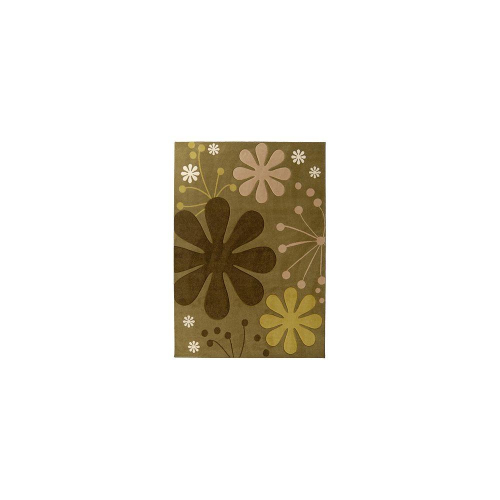 Lanart Rug Carpette d'intérieur, 4 pi x 6 pi, rectangulaire, vert Urban Bloom