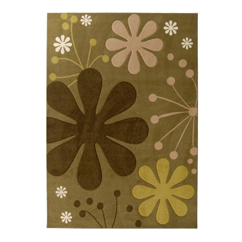 Lanart Rug Carpette, 5 pi x 7 pi, rectangulaire, vert Urban Bloom