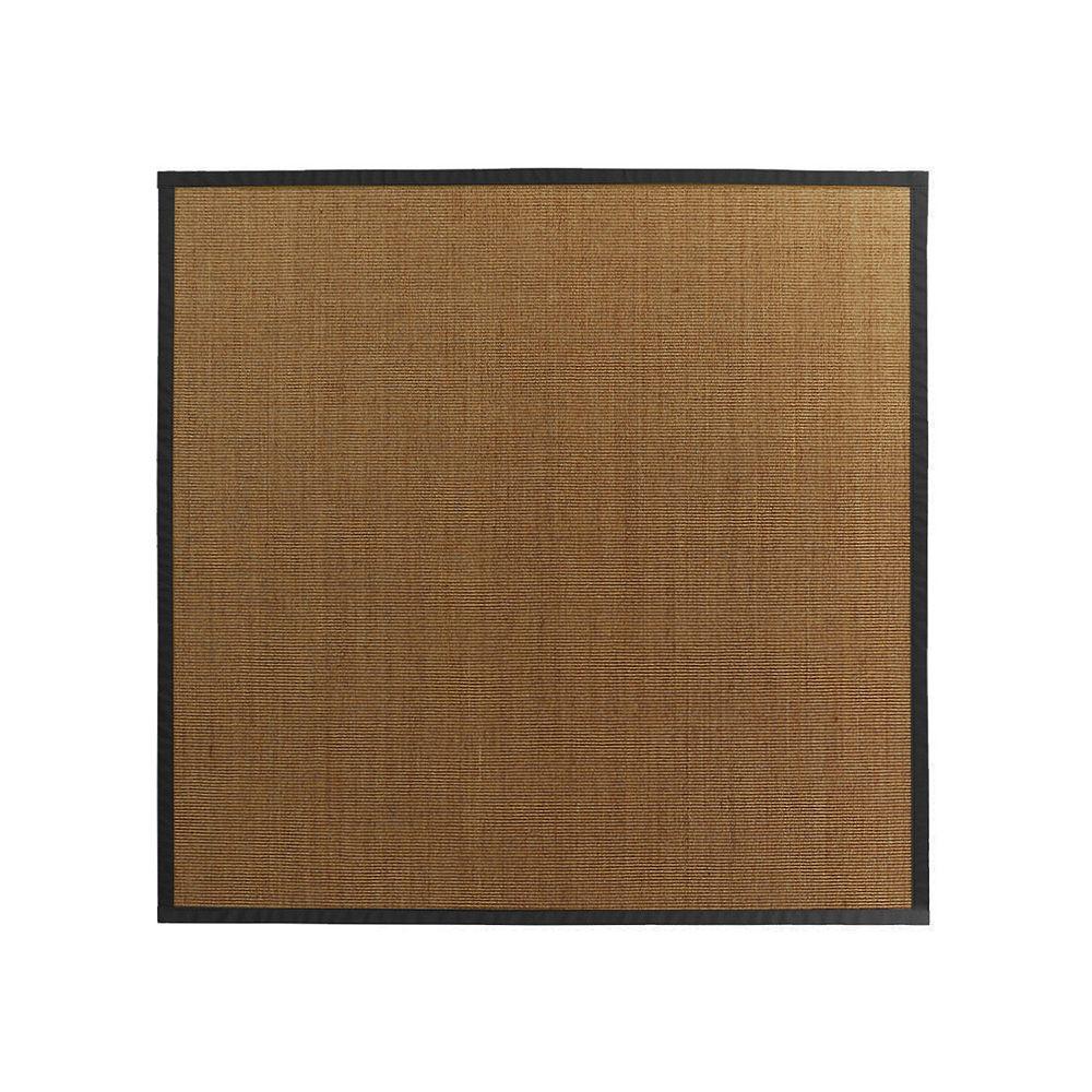 Lanart Rug Carpette d'intérieur, 8 pi. x 8 pi. tissage texturé, rectangulaire, sisal naturel, noir